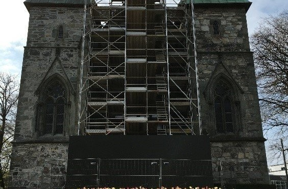 Stavanger Cathedral is being restored with Alustar Scaffolding